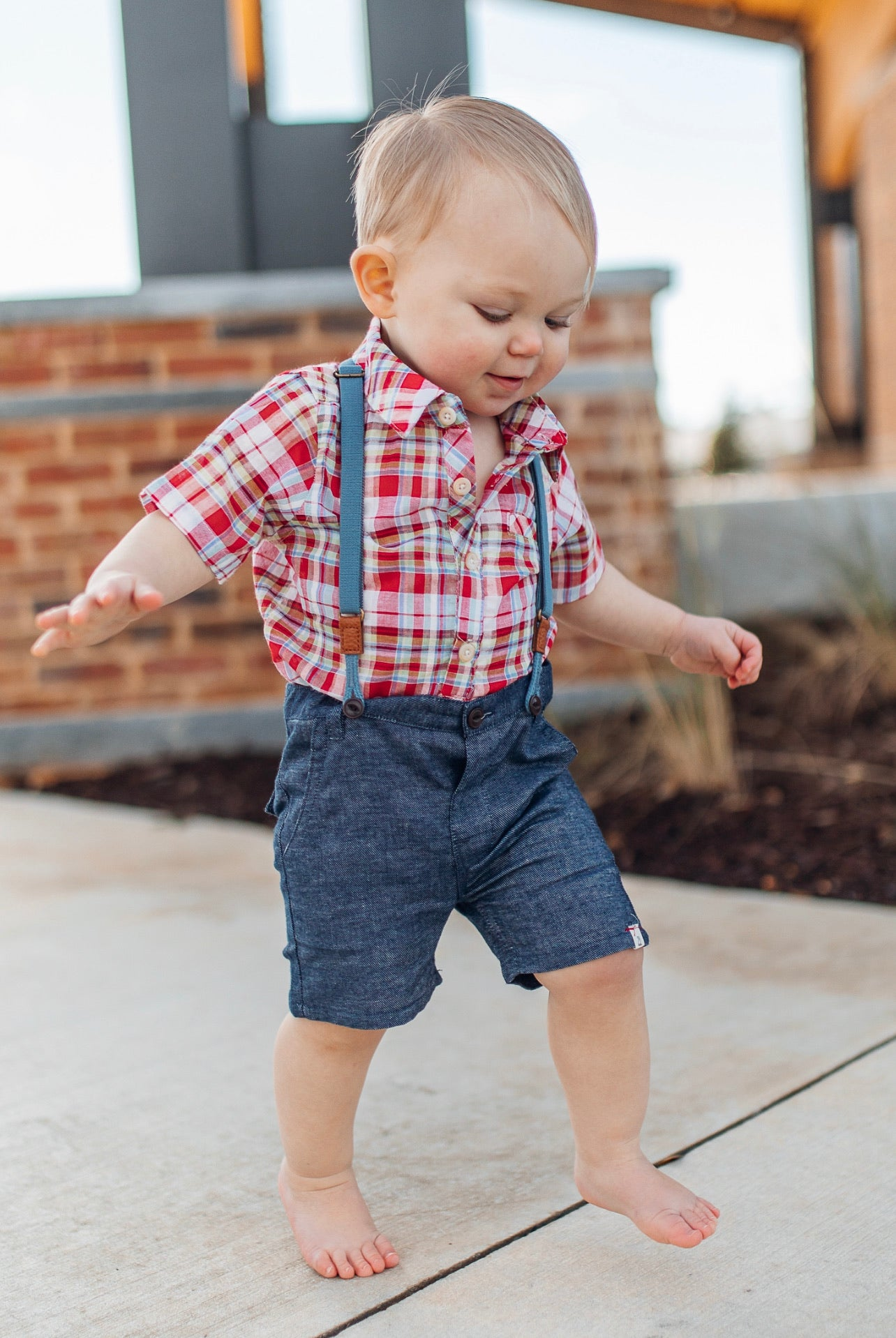 Chambray Shorts with Removable Suspenders