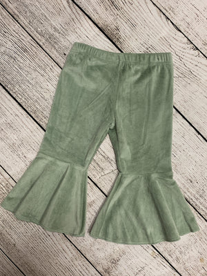 Velvet Bell Bottom Pants in Sage