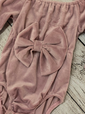 Velvet Bell Sleeve Onesie with Front Bow