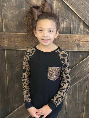 Leopard Sleeve Top with Sequin Pocket