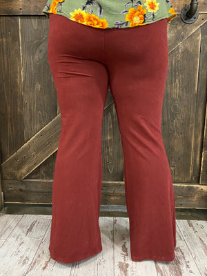 Mineral Wash Bell Bottom Pants in Merlot