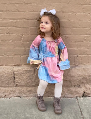 Tie Dye Bell Sleeve Tunic Dress in Pink Mix