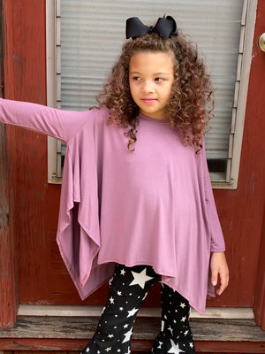 Asymmetrical Hem Tunic Top - Ash Purple