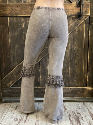 Fringed Crochet Mineral Wash Bell Bottom Pants in Taupe Grey