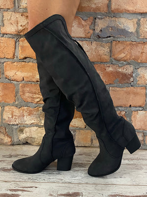 Raw Edge Over The Knee Boot