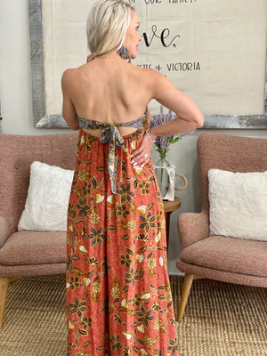 Floral Wide Leg Jumpsuit with Open Back Tie