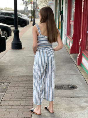 Smocked Bodice Striped Wide Leg Jumpsuit