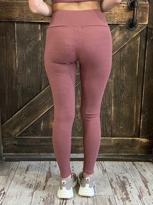 Textured Metallic Leggings Mauve