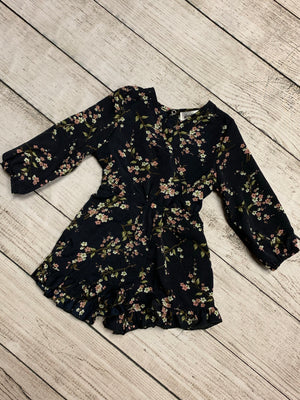 Long Sleeve Floral Romper in Navy
