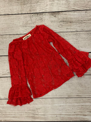 Sheer Lace Top with Ruffled Sleeves in Red