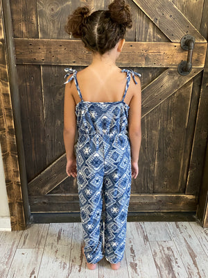 Printed Jogger Jumpsuit with Pom Pom Detail
