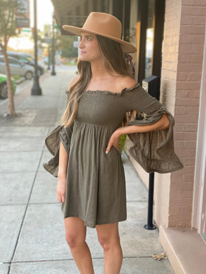 Smocked Off Shoulder Dress with Bell Sleeves in Olive