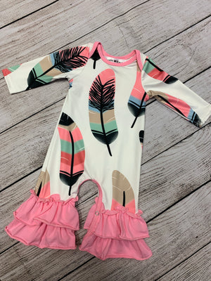Feather Ruffled Bell Bottom Romper