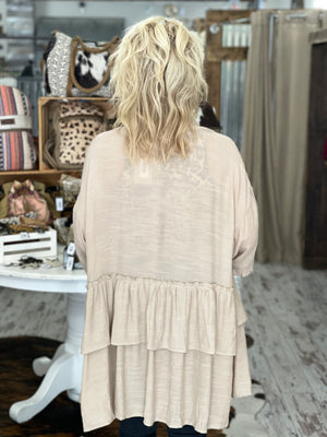 Double Ruffle Open Front Cardigan