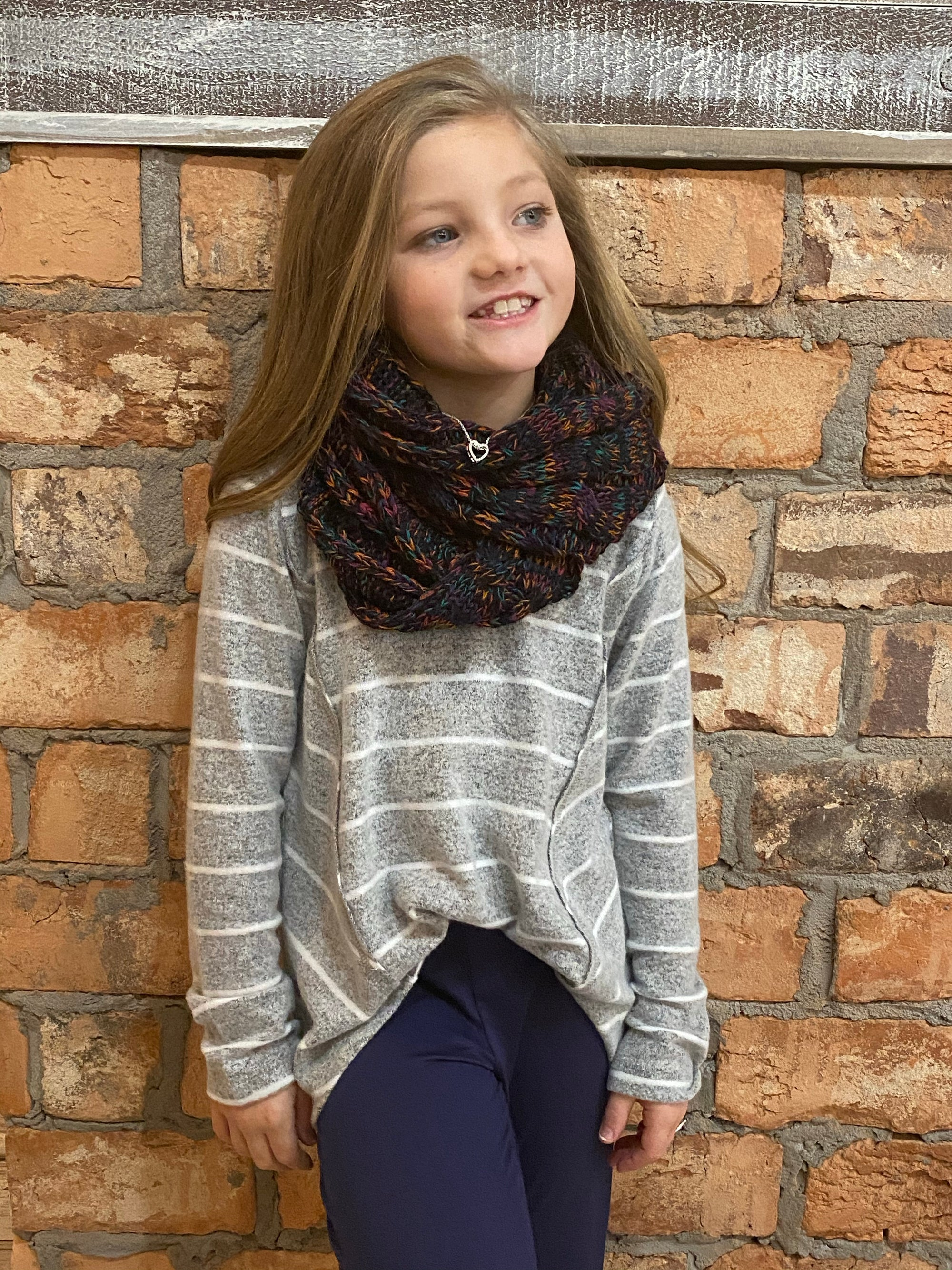 CC Kids Multi Color Cable Knit Infinity Scarf