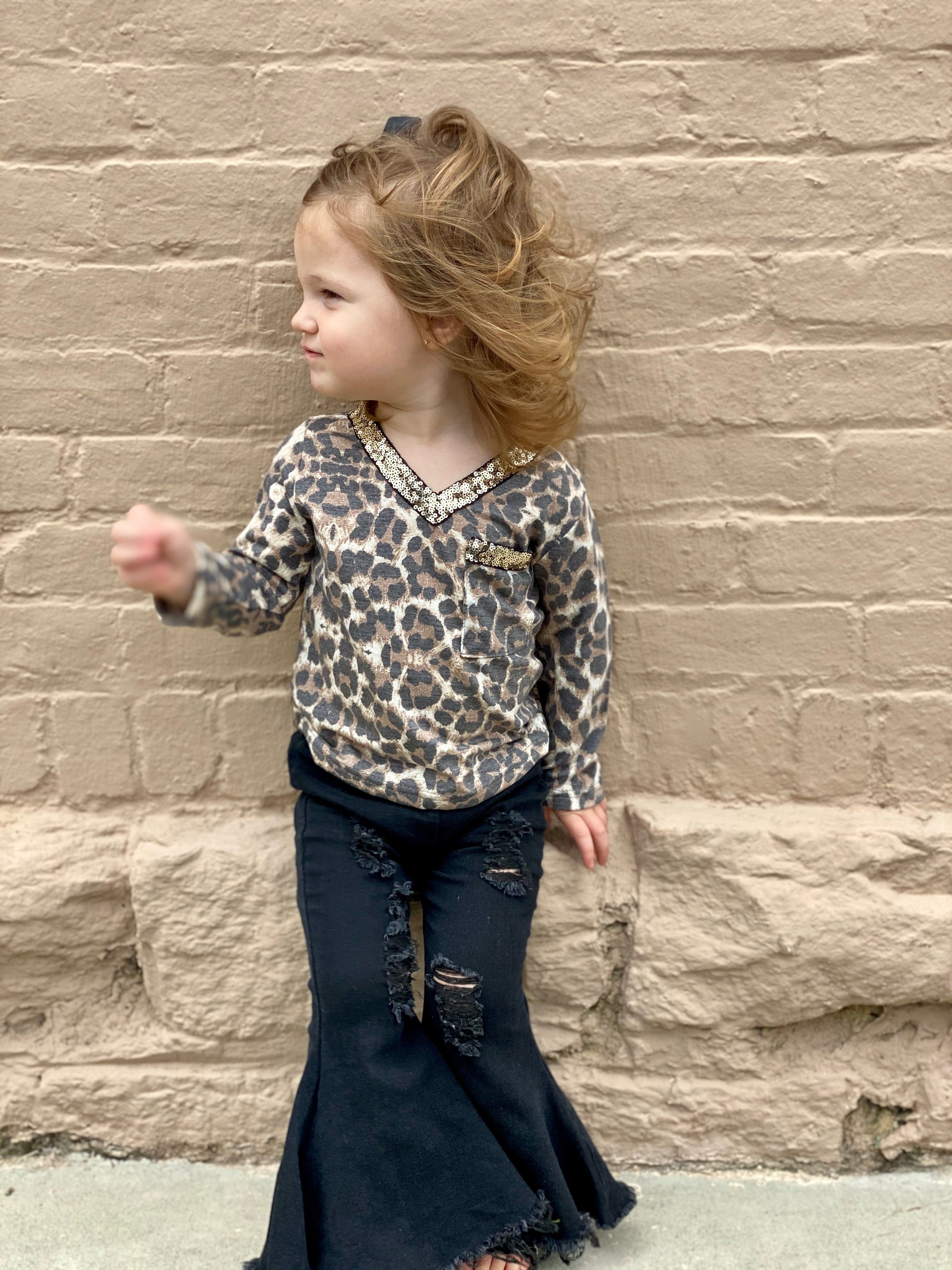 Leopard Pocket Top with Sequin Detail