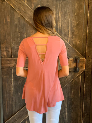 Loose Fit Top with Strappy Open Back in Salmon