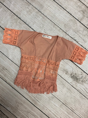 Lace Cardigan with Fringe in Pink