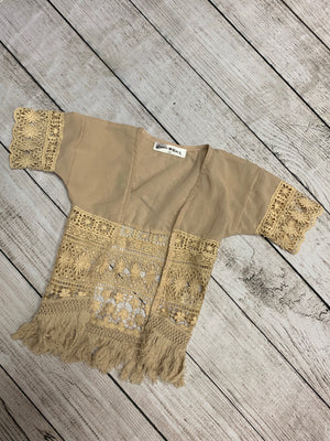 Lace Cardigan with Fringe in Cream