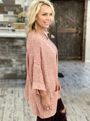Open Front Knit Cardigan with Pockets