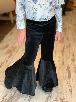 Velvet Bell Bottom Pants in Black