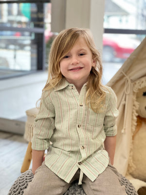 Green Striped Collared Onesie/ Shirt