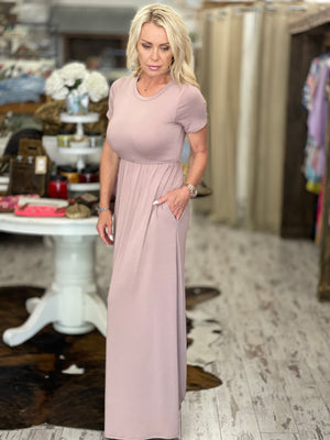 Solid Maxi Dress with Pockets in Mauve