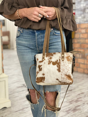Brown Hairon & Leather Purse