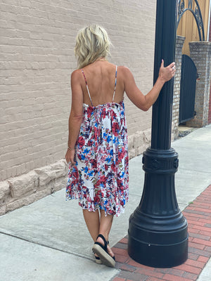Spaghetti Strap Floral Dress with Ruffle Hem