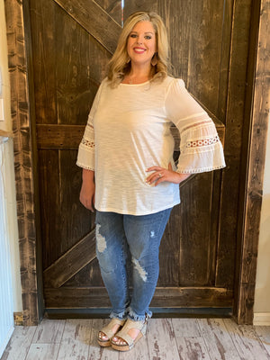 Knit Top with Crochet Detail Flutter Sleeves