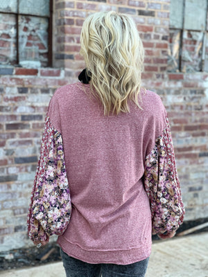 Floral Bubble Sleeve Top with Rounded Hem