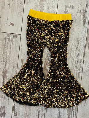 Sequin Bell Bottom Pants in Gold