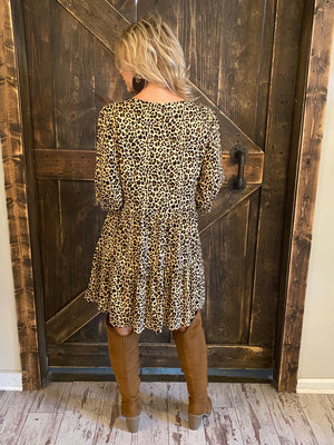 Leopard Print Dress with Lace Detail