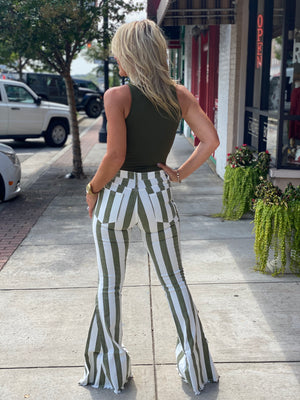 Striped Bell Bottom Jeans with Raw Hem