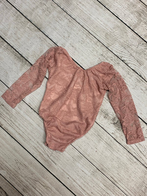 Long Sleeve Lace Leotard in Mauve