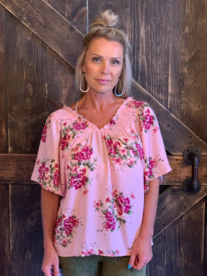 Floral Smocked On/ Off Shoulder Top