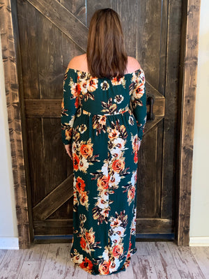 Long Sleeve Floral Off Shoulder Maxi Dress