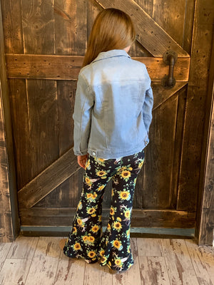 Sunflower Print Bell Bottom Pants
