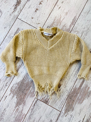 Distressed Sweater in Cream