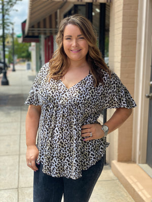 Leopard Babydoll Top with Ruffle Sleeves