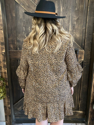 Ruffle Bubble Sleeve Leopard Dress