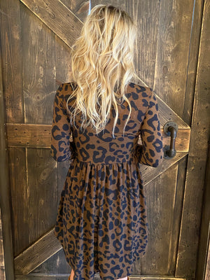 Leopard Print Babydoll Dress with Pockets