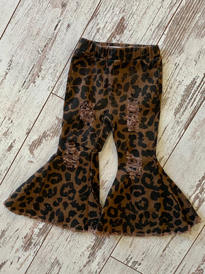 Leopard Bell Bottom Jeans with Raw Hem