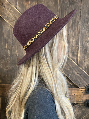 Leopard Belt Buckle Panama Hat - Plum