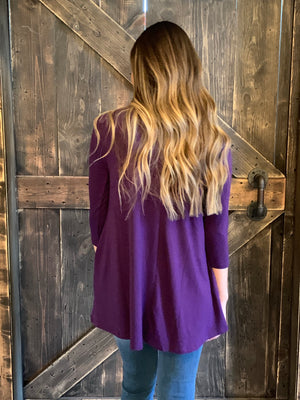 3/4 Sleeve Top with Keyhole in Plum