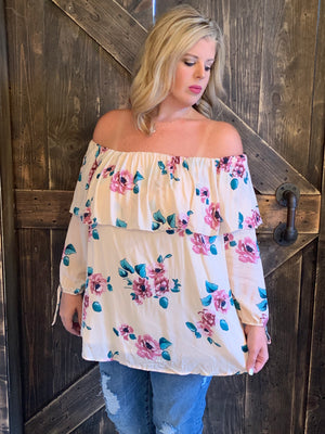 Floral Off Shoulder Top with Ruffle