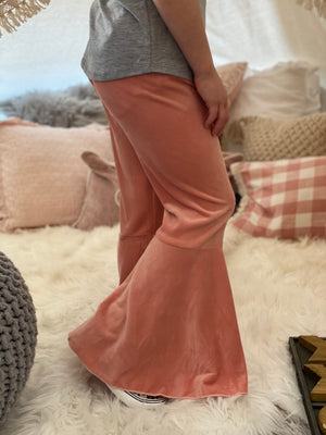 Velvet Bell Bottom Pants in Pink