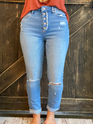 Distressed Cuffed Button Fly Jeans in Medium Wash
