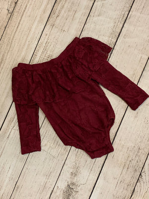 Lace Off Shoulder Onesie in Burgundy