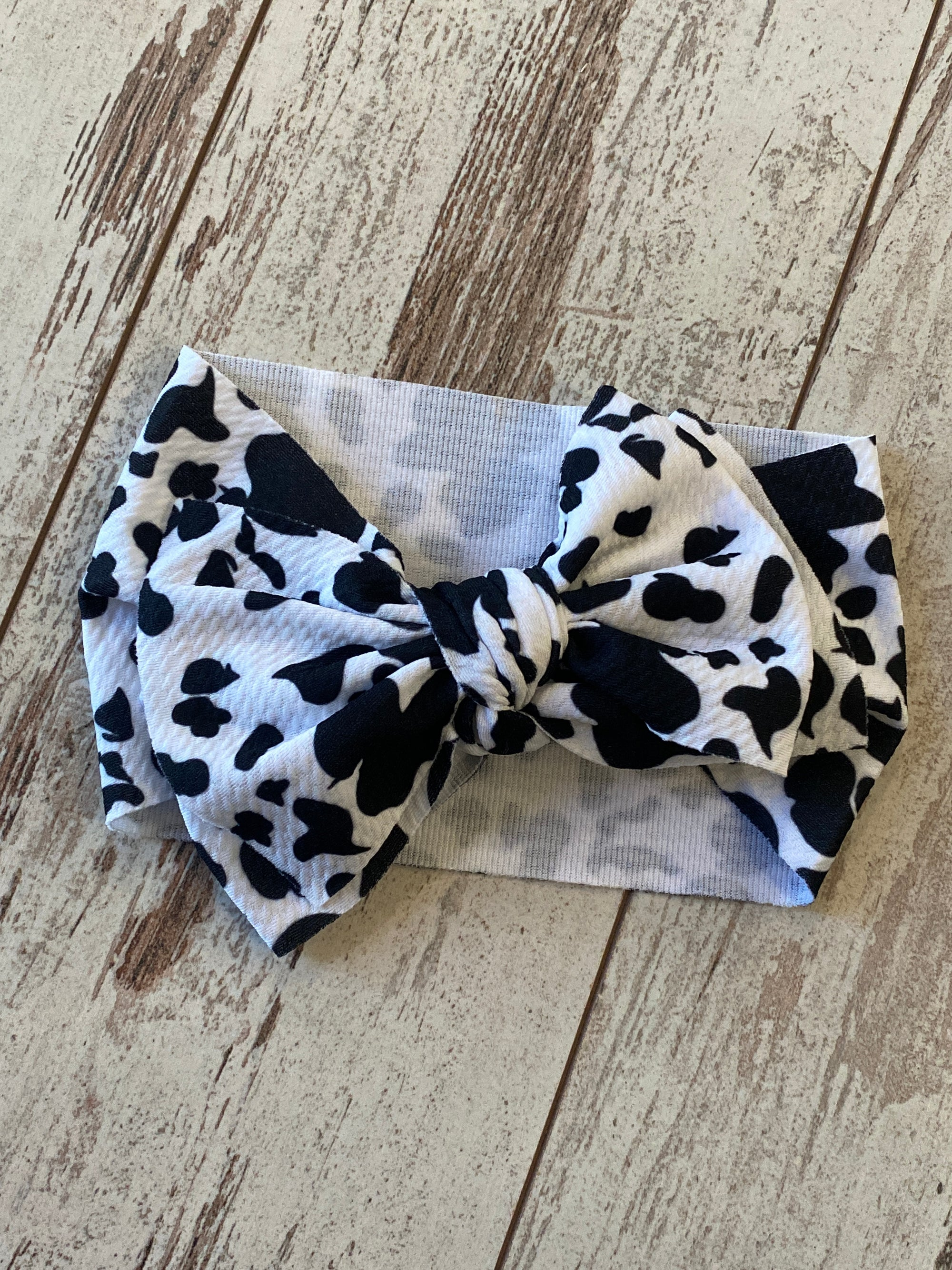 Cow Print Bow Headband